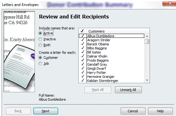 review and edit recipients