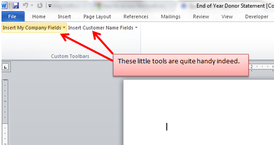 where is the quickbooks toolbar in microsoft word 2010